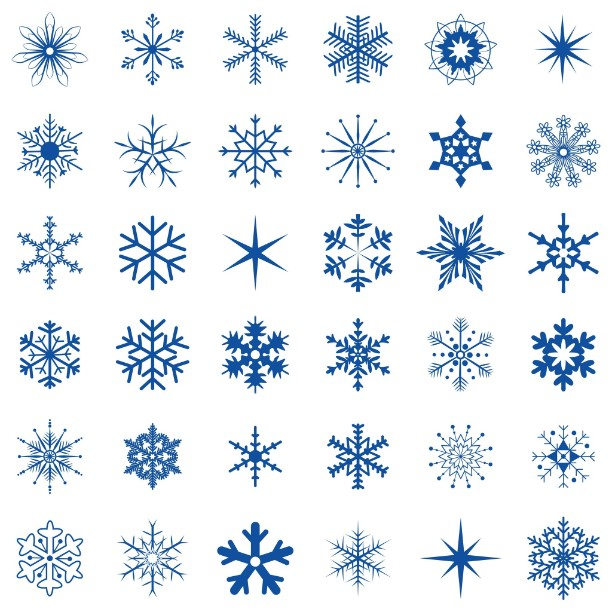 36 Different Snowflakes