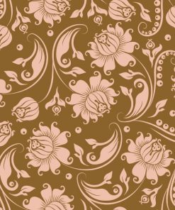Beige Flowers on Gold