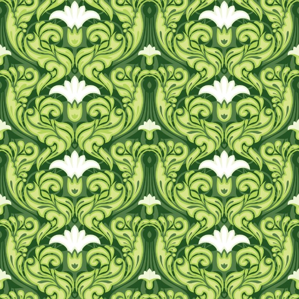 Ornate Green Floral